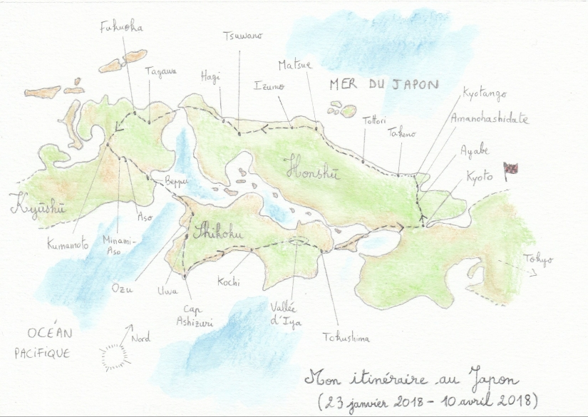 carte itinéraire Japon